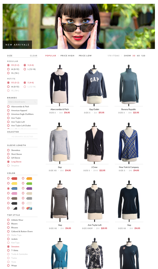 shopping campaigns for an online clothing store